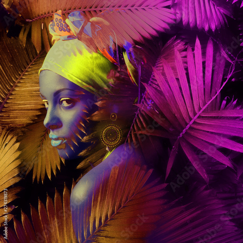 Papier Peint - African black young woman portrait with turban neon colors composite photo
