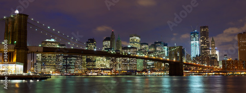 Papier Peint - New York City Brooklyn Bridge panorama at dusk