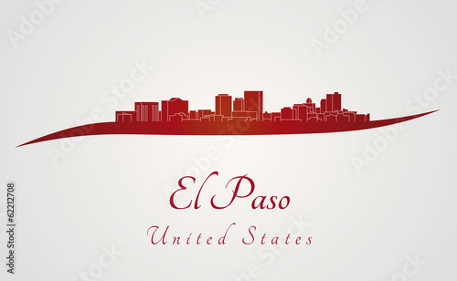 Papier Peint - El Paso skyline in red