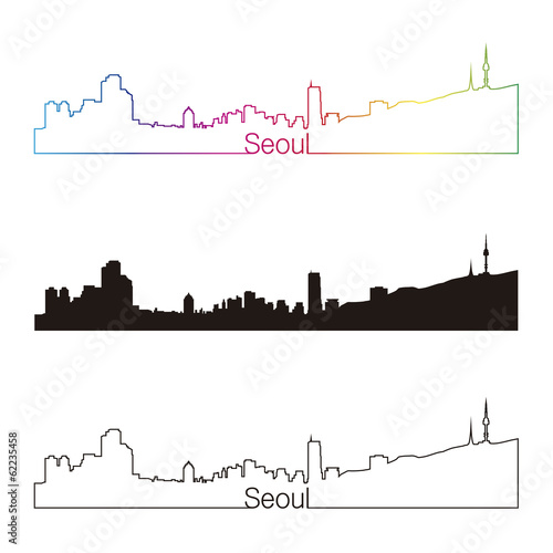 Papier Peint - Seoul skyline linear style with rainbow