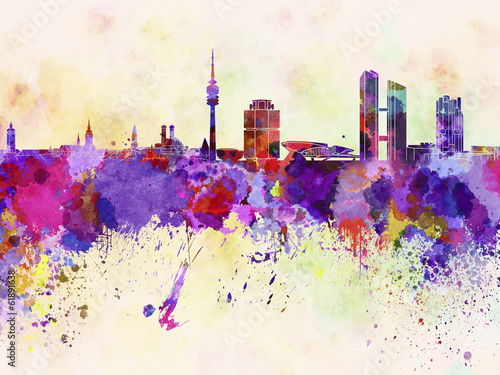 Papier Peint - Munich skyline in watercolor background
