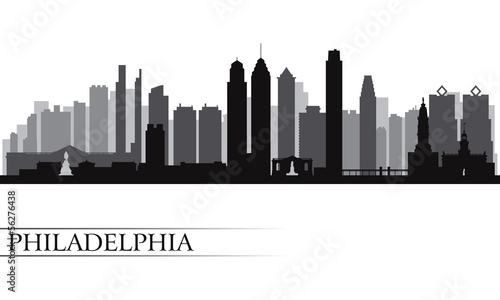 Papier Peint - Philadelphia city skyline detailed silhouette