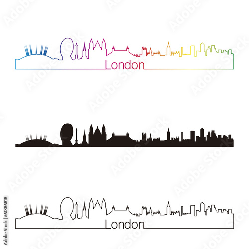 Papier Peint - London skyline linear style with rainbow
