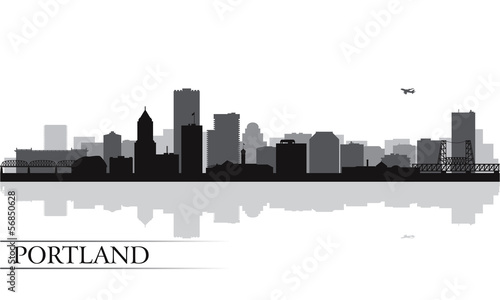 Papier Peint - Portland city skyline silhouette background