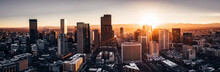 Papier Peint - Aerial drone photo - City of Denver Colorado at sunset
